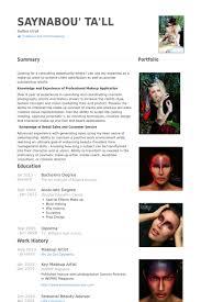 makeup artist resume sles