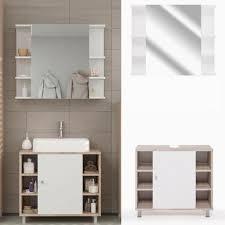 Badmöbel Set Fynn Eiche Sonoma Badezimmer Spiegelschrank Waschtisch Unterschrank Badschrank