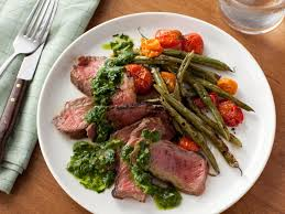 grilled steak with green beans tomatoes and chimichurri sauce recipe food network kitchen food network