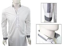 Mens Kameez Collar Design Ash Clothing Sk016 White Double Collar Design Shalwar Kameez