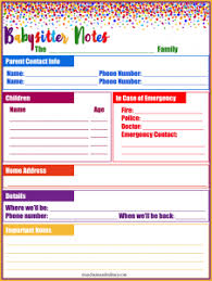 Babysitter Information Sheets Babysitter Information Sheets Hunecompany Com