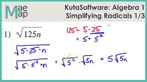kuta algebra 1 simplifying radicals part 1