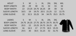 Body Length Size Chart Cornhole Addicts Jersey