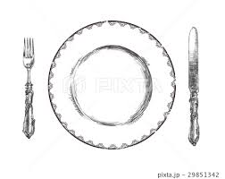 皿とナイフとフォークイラストのイラスト素材 29851342 Pixta