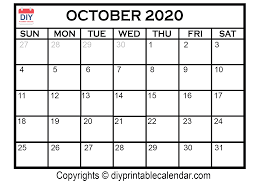 Printable Calendars For 2020 October 2020 Printable Calendar Template