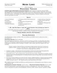 Preschool Teacher Assistant Resume Exclusive Preschool Teacher
