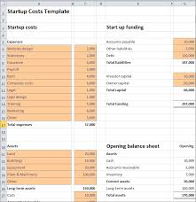 Startup Expense Sheet Start Up Costs Calculator Template Plan Projections
