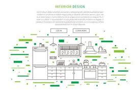 Kitchen Website Design Amazing Interior Design Landing Page Linear Vector Illustration Line