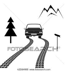 car driving clipart black and white. Interesting Driving Black And White Silhouette Vector Illustration Of A Car Driving On  Mountain Road With Tire Tracks Behind It Conceptual Exploration Vacation For Car Driving Clipart And White