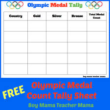 Olympic Medal Chart Teacher Mama Free Olympic Medal Count Tally Sheet Olympic