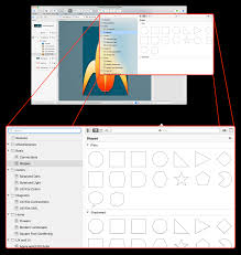 An exploding view of OmniGraffle, showing the Stencil Browser in a popup  window available from