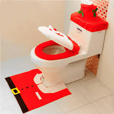 universal happy santa toilet seat cover rug bathroom set