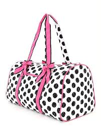 Monogrammed White and Black Polka Duffle Bag| Personalized White ... & Quilted Duffle Bag-White & Black with Pink Accents Adamdwight.com