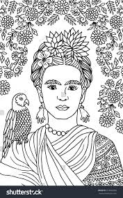link hope you don't mind. Hand Drawn Portrait Of Frida Kahlo With Floral Background Flowers In Her Hair And A Parrot On Her Shou Hand Drawn Portraits How To Draw Hands Kahlo Paintings