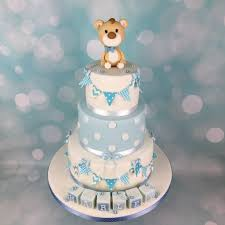 Baby Blue Teddy Bear Topper Christening Cake Mels Amazing Cakes