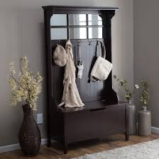 entryway furniture sets. Tall Espresso Wood Entryway Furniture Set With Storage Bench And Hooks For Coat Rack Plus Mirror Sets T