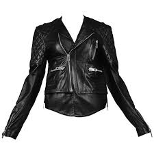 balenciaga black quilted leather moto jacket for