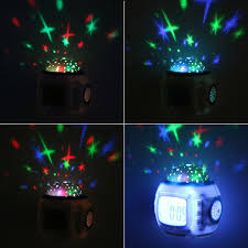 led night light with alarm clock starry sky star moon projector light table lamp for kid children bedroom rotary flashing
