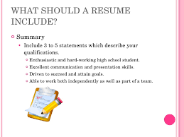 resume writing high school what should