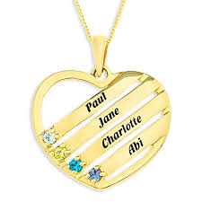 9ct gold personalised family keepsake names and birthstones pendant on 18 curb chain optima jewellery