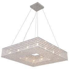 24 square pendant chandelier crystal chrome hallway ceiling light fixtureceiling lights