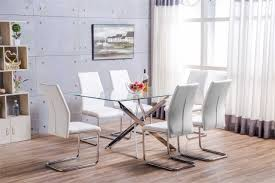 modern metal furniture. Leonardo Glass And Chrome Metal Dining Table 6 White Lorenzo Chairs Modern Furniture G