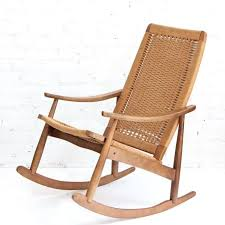 mid century modern wicker rocker woven rope rocking chair and ottoman at