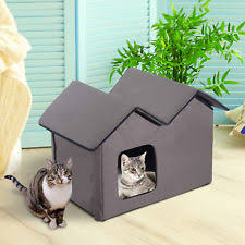 outdoor cat house heated. outdoor electric heated kitty cat house bed waterproof winter shelter warm