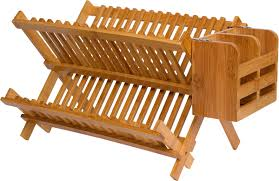 furniture made from bamboo. Folding Dish Rack With Utensil Holder - Made From Natural Bamboo By Trademark Innovations Furniture