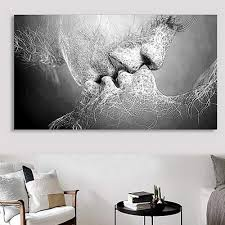 Wall Decor Black & White Love Kiss Abstract Art on Canvas Painting Wall Art Picture Print Home Decor