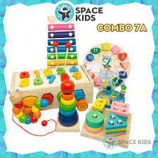 Báo giá Combo 4 đến 7 món Đồ chơi gỗ thông minh cho bé giúp bé tư duy, phát  triển trí tuệ Space Kids, chất liệu gỗ tự nhiên, nhiều màu sắc