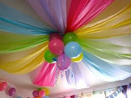 Dollar store plastic tablecloths and a few balloons - awesome party  ceiling! @ Wedding Day