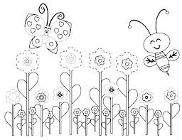 Free Printable Bee Colouring Pages Coloring Spring Flowers Page
