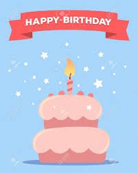 Colorful Illustration Happy Birthday Template Poster With Pink