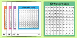 Free 100 Square Bottom To Top 100 Square Number