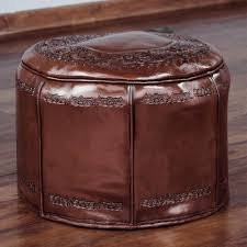 colonial leather pouf ottoman cover spanish elegance