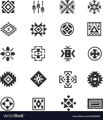 Traditional Symbols Traditional Tribal Mexican Symbols Navajo Ethnic Vector Image