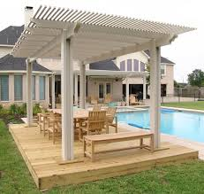 White Wooden Pool Shade Pergola Added Natural Wooden Patio