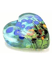 paperweight heart blue poppy in hand blown glass by robert held 11 gif