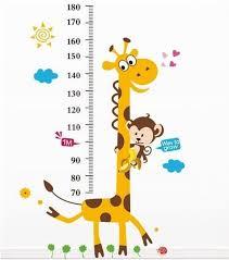 Cartoon Giraffe Kids Growth Chart Height Measure For Home