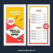 A La Carte Menu Template Japanese Restaurant Menu Template Vector Free Download