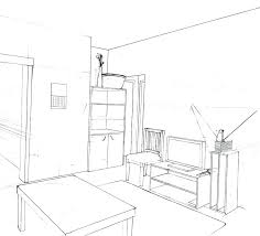 Bedroom Drawing Teen Room Master Bedroom Perspective Drawing