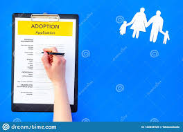 Mock Application Form Application Form For Adopt Child On Blue Background Top View