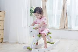 labebe child rocking horse wooden rocking horse toy stars printed green rocking horse for kid