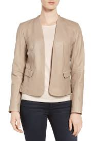 image of emerson rose open front leather jacket
