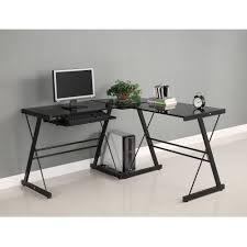 gaming corner desk. Simple Desk Walker Edison Soreno 3Piece Corner Desk Black With Glass On Gaming Desk E