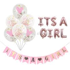 Pink Banners Us 1 88 20 Off Its A Girl Balloon Its A Boy Balloon Boy Girl Shower Banners Flags Pink Blue Confetti Baby Shower Balloons Party Decorations In