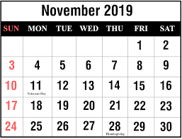 Download November 2019 Calendar Excel Printable September
