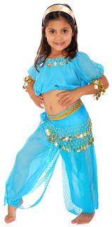 6 Piece Girls Arabian Princess Genie Costume In Jasmine Blue