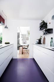 bold purple vinyl flooring for a modern kitchen